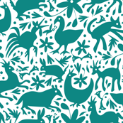 Mexico Springtime: Teal on White (Large Scale)