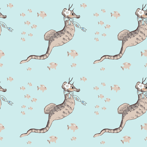 Samantha Seahorse and a school of fish fabric by karenharveycox on Spoonflower - custom fabric