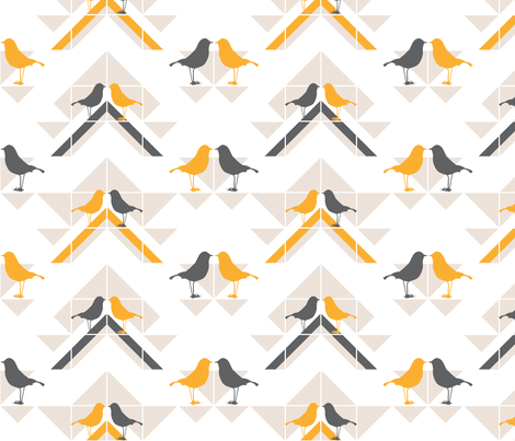 GEOMETRICS/BIRDS NO.2 fabric by lottiefrank on Spoonflower - custom fabric