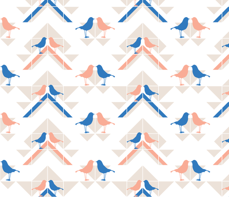 Geometrics/Birds No.3 fabric by lottiefrank on Spoonflower - custom fabric