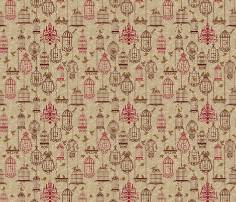 Birds and cages vintage pattern. fabric by yaskii on Spoonflower - custom fabric