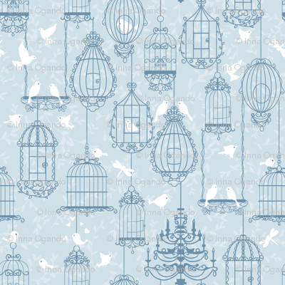 Birds and cages.