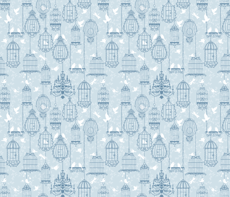 Birds and cages.  fabric by yaskii on Spoonflower - custom fabric