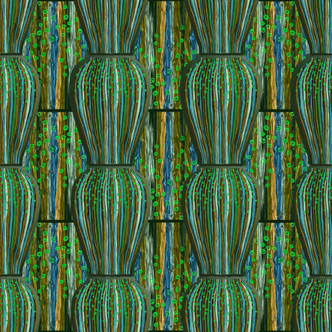 Vases with green gold after Max Laeuger fabric by su_g on Spoonflower - custom fabric