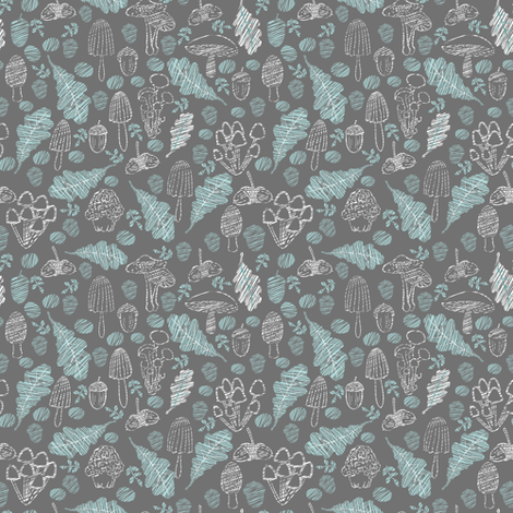 Mushrooms and acorns. fabric by yaskii on Spoonflower - custom fabric