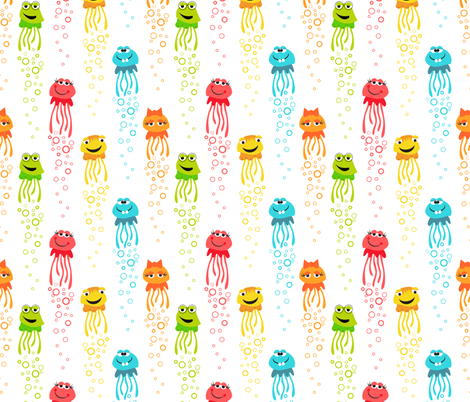 Jellyfish kids fabric dianef spoonflower for Kids pattern fabric
