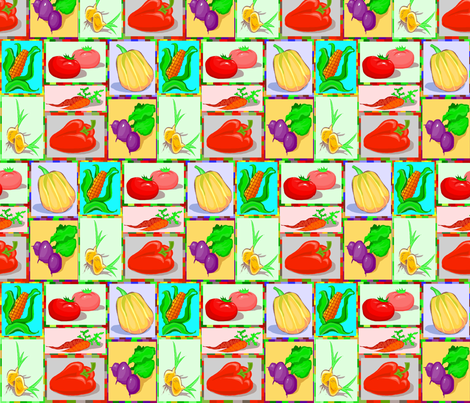 VEGETABLE CHEATER QUILT fabric by bluevelvet on Spoonflower - custom fabric