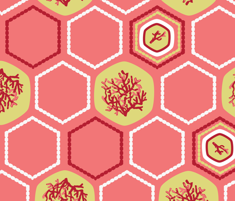 Hexagon Coral fabric by gsonge on Spoonflower - custom fabric