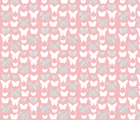 pink stripe butterfly fabric by cristinapires on Spoonflower - custom fabric