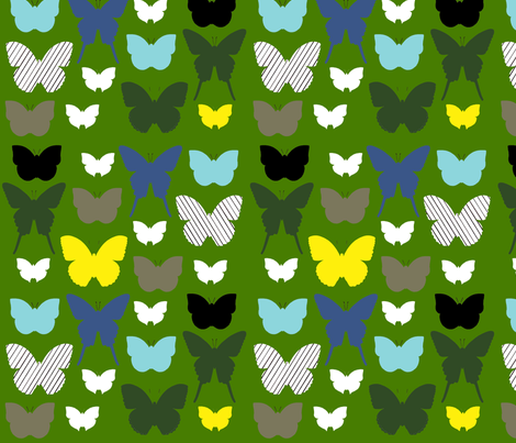 butterfly1_17jan2012gGREENYELLOW fabric by cristinapires on Spoonflower - custom fabric