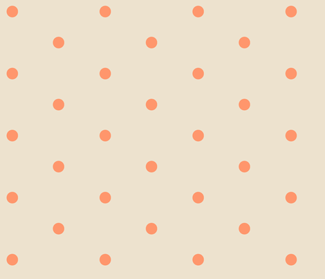 Wider Tangerine Dots on Cream