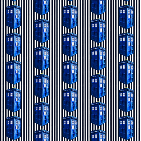 Dark Blue & White Striped Police Box fabric by bohobear on Spoonflower - custom fabric