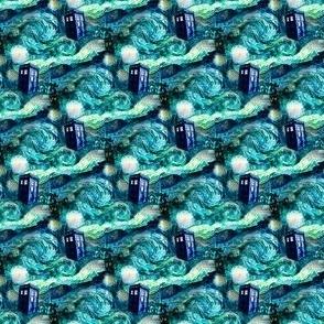 Starry Night Landscape - blue police boxes (1350 dpi)