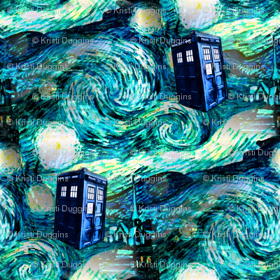 Starry Night Landscape - blue police boxes (1350 dpi)