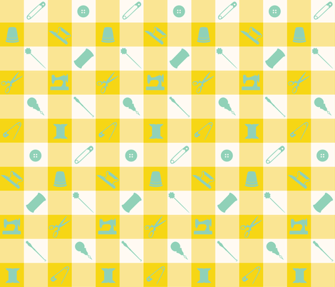 PLAID_SEWING_GREEN fabric by natasha_k_ on Spoonflower - custom fabric
