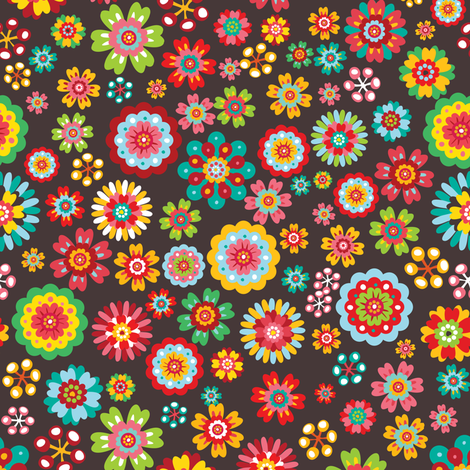 Flower Power - Dark fabric by irrimiri on Spoonflower - custom fabric