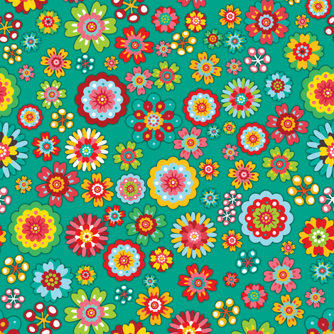 Flower Power | green fabric by irrimiri on Spoonflower - custom fabric