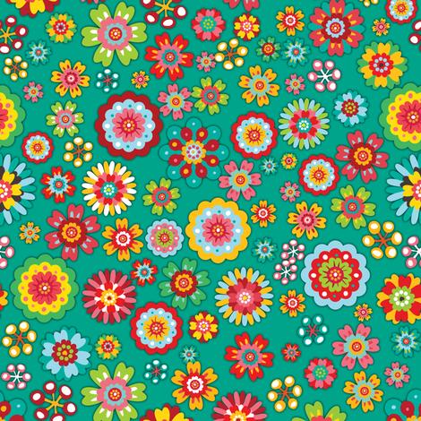 Flower Power | green fabric by irrimiri on Spoonflower - custom fabric