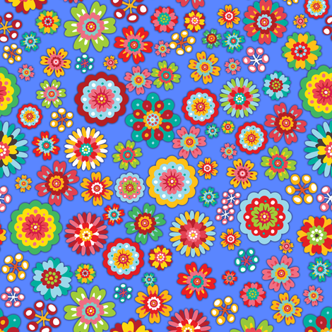 Flower Power | blue fabric by irrimiri on Spoonflower - custom fabric