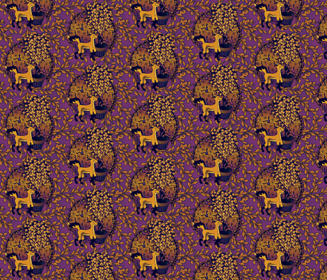 Fox and Grapes -  Embers fabric by glimmericks on Spoonflower - custom fabric