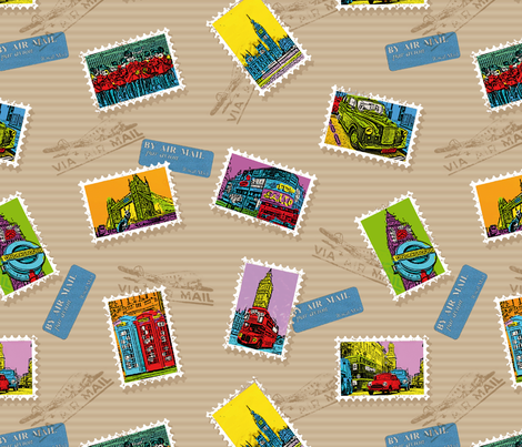 London PopArt Stamps fabric by cassiopee on Spoonflower - custom fabric