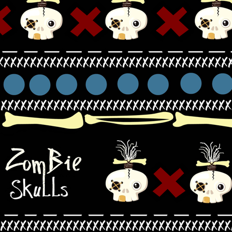 zombie skulls / small fabric by paragonstudios on Spoonflower - custom fabric