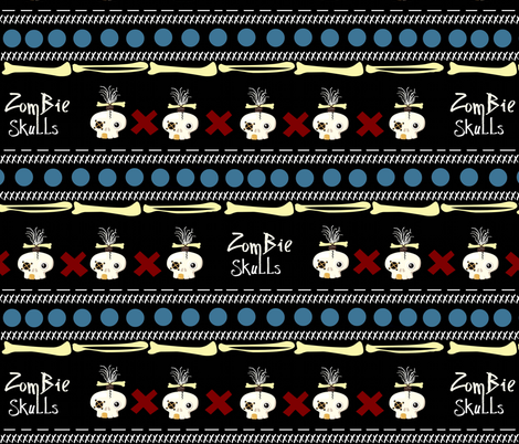 zombie skulls / large fabric by paragonstudios on Spoonflower - custom fabric