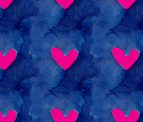 cestlaviv_pink heart fabric by cest_la_viv on Spoonflower - custom fabric