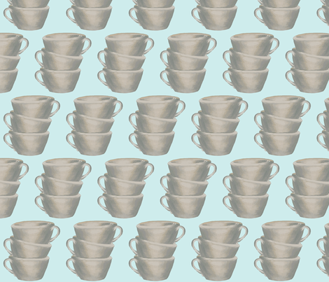 Cups, cups, cups, blue fabric by karenharveycox on Spoonflower - custom fabric