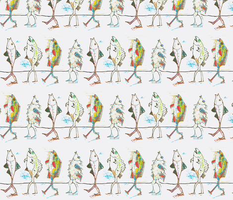 Walking Fish fabric by boris_thumbkin on Spoonflower - custom fabric