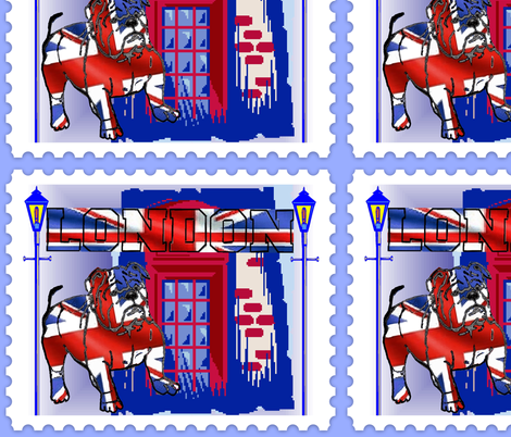 BRITISH BULL DOG STAMP fabric by bluevelvet on Spoonflower - custom fabric