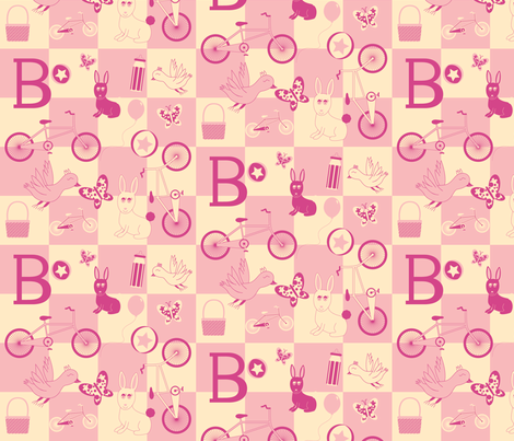 """B is for...Bicycles"" (Pink Version) fabric by jubilli on Spoonflower - custom fabric"