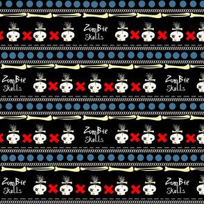 zombie skulls / X stripe