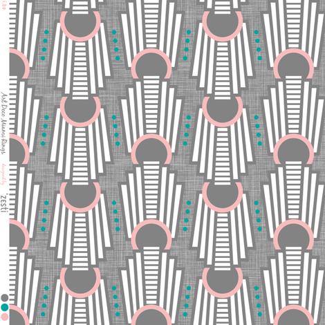 Art Deco Rings Miami Dark fabric by zesti on Spoonflower - custom fabric