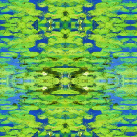 Lily Pad Ikat (large- bright greens & blues) fabric by pattyryboltdesigns on Spoonflower - custom fabric