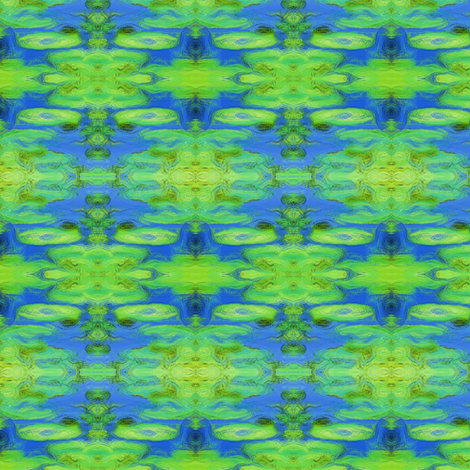 Lily Pad Ikat (small- bright greens & blues) fabric by pattyryboltdesigns on Spoonflower - custom fabric