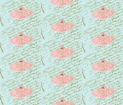 Ooh La Lah Pink Dress on Tiffany Blue background half-drop repeat fabric by karenharveycox on Spoonflower - custom fabric