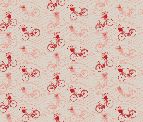 bikes up & down_RED&PEACH fabric by natasha_k_ on Spoonflower - custom fabric