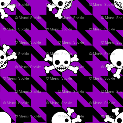 Purple Houndstooth & Skulls