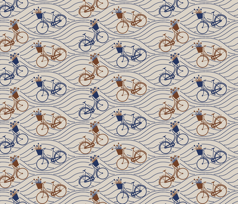 bikes up & down_brown&navy fabric by natasha_k_ on Spoonflower - custom fabric