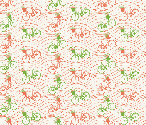 bikes up & down_green&orange fabric by natasha_k_ on Spoonflower - custom fabric
