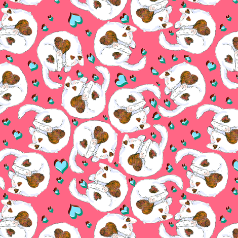Valentine Cats fabric by eclectic_house on Spoonflower - custom fabric