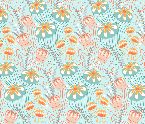 jellyfish garden fabric by carcamella on Spoonflower - custom fabric