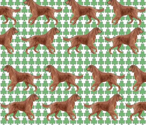Irish Setter with Shamrocks fabric by dogdaze_ on Spoonflower - custom fabric