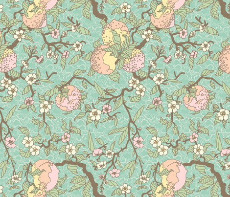 Blossoms and Peaches fabric by teja_jamilla on Spoonflower - custom fabric