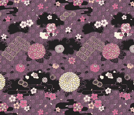 Kimono Flowers Pink + Purple on Black fabric by teja_jamilla on Spoonflower - custom fabric