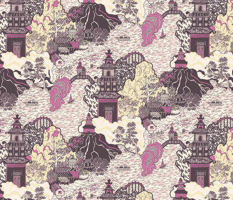 Oriental Pagodas fabric by teja_jamilla on Spoonflower - custom fabric