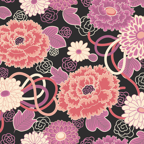 Peony Clouds black fabric by teja_jamilla on Spoonflower - custom fabric