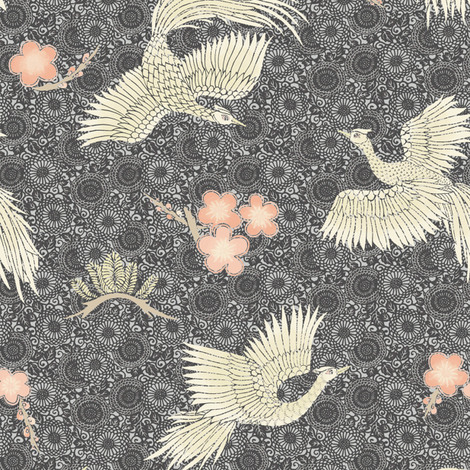 White Cranes black + blue fabric by teja_jamilla on Spoonflower - custom fabric