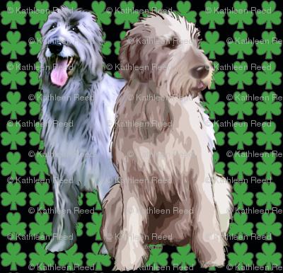 Irish Wolfhounds with shamrocks